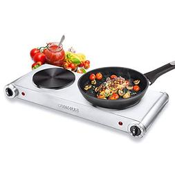 Hot Plates Cooking Portable Electric Double Burner 1800W 5 P