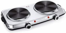 Hot Plates for Cooking, 1800W Electric Double Burner with Ha