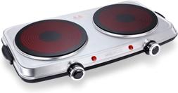 Hot Plates for Cooking 1800W Electric Double Burner with Han