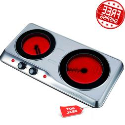 Infrared Cooktop Double Burner Electric Hot Plate Cooker 2 C