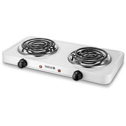 Kitchen Countertop Cast-Iron Double Burner - Stainless Steel