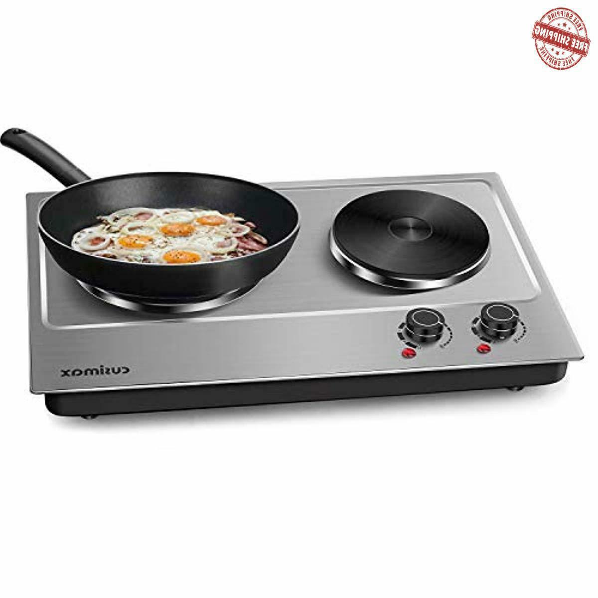1800w double hot plate countertop burner portable