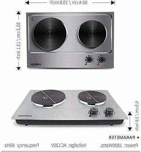 CUSIMAX 1800W Double Hot Plate, Stainless Steel Silver Count