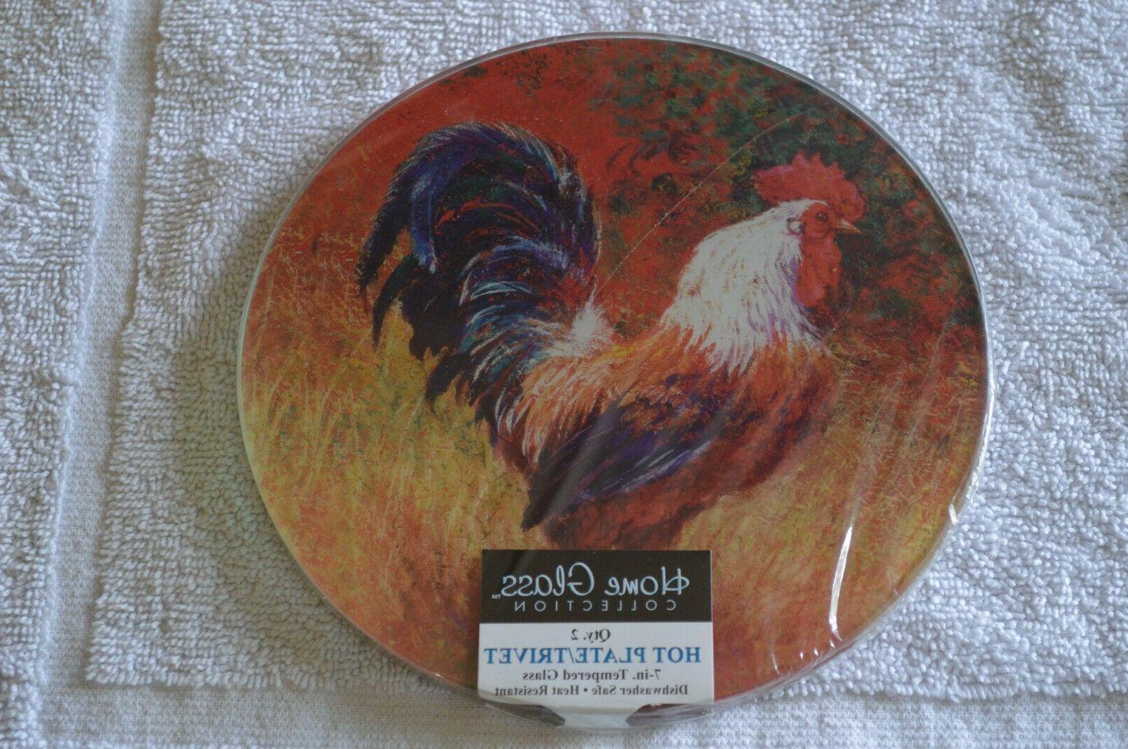 2 Rooster Hot Plates/Trivets Tempered Glass - Dishwasher Safe -