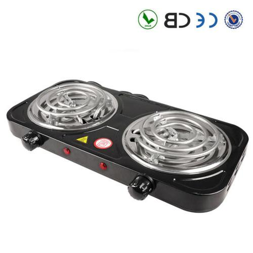 Portable Electric Dual 2 Burner Hot Plate Cooker Kitchen RV