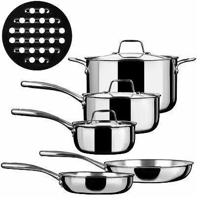 Duxtop SSC-9PC 9 Piece Whole-Clad Tri-Ply Induction Cookware