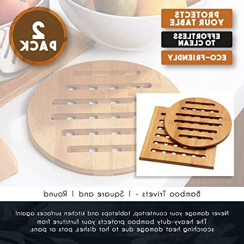 Bamboo - 2-Pack Wood Pads Plate, Heat for Pots, Pans, for Dining Table, Square 7.5