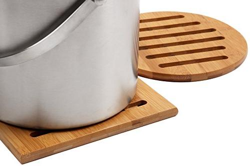 Bamboo Trivet - 2-Pack Wood Trivet, Plate, Resistant for Hot Dishes, Pans, Table, Square x 7.5 2.8