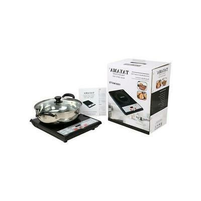 "Black 8"" Induction Hot Plate Single Burner Digital Display W"