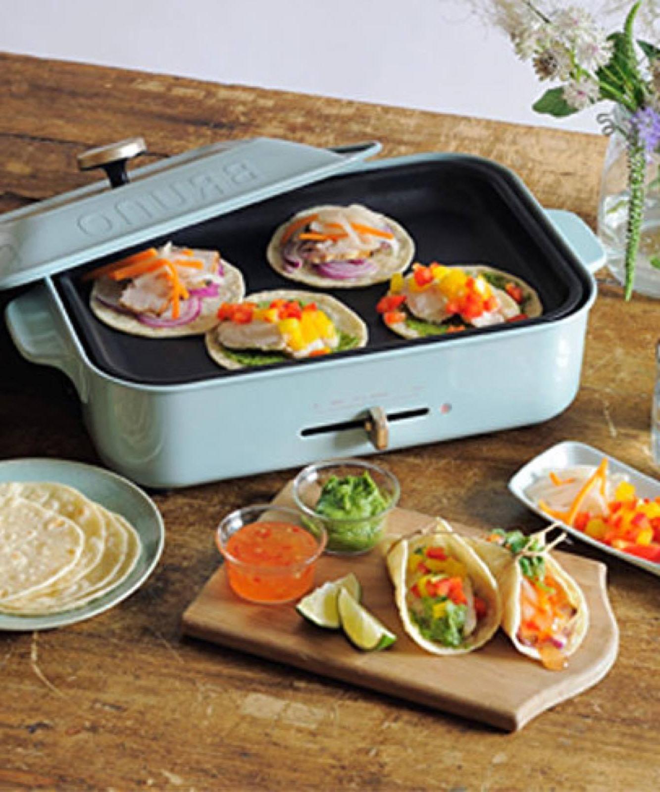 BRUNO Compact Hot Plate Flat /& Takoyaki Plate Set Blue Gray BOE021-BGY F//S Track