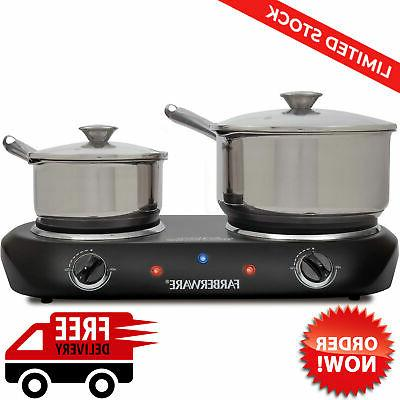 Portable Double Electric Stove 1800W Cooktop 2 Burner Hot Pl