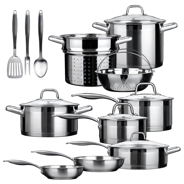 cookware setz stainless steel 17 piece duxtop