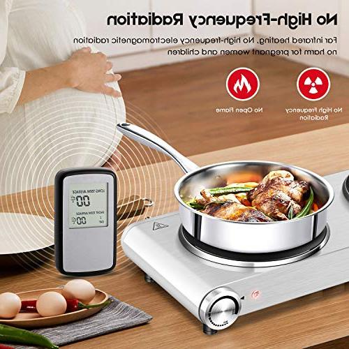 Techwood 1800 Countertop Burner, Infrared Cooktop , Portable Hot Plate, Stainless ES-3201C