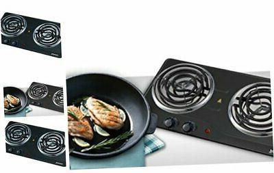 courant double burner 1700w hotplate black countertop