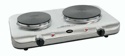 double burner electric hot plate commercial cast