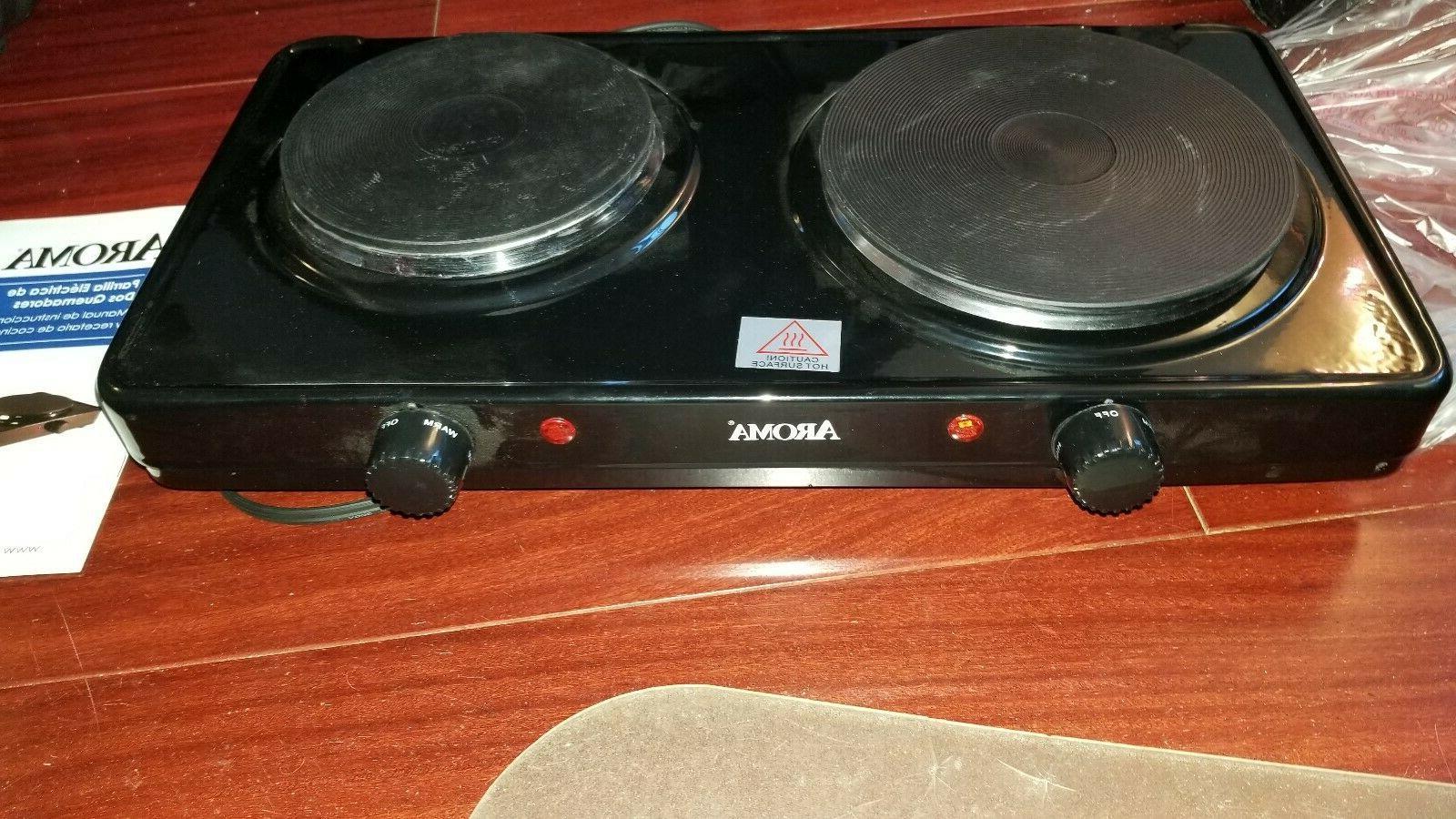 AROMA Double Diecast Hot Plate Range Temperature Control Black