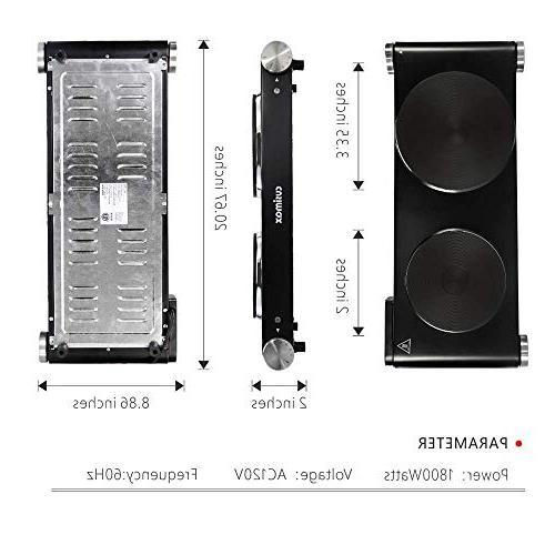Cusimax Double Electric Plate - Countertop Burner Dual Temperature - - Black - 1800W