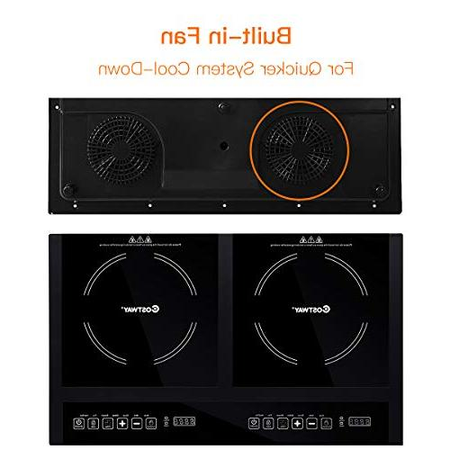 Costway Double Induction Cooktop Portable Electric Dual Hot w/Digital Display