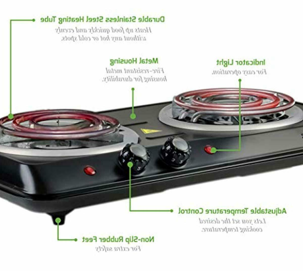 Electric Cooktop Double Hot Plate Cooking New