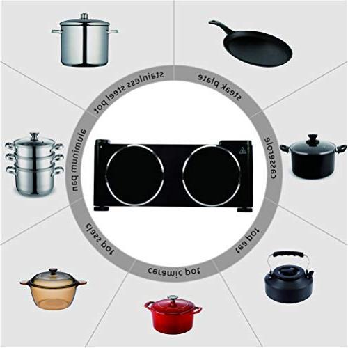 Cusimax Countertop Burner Double Cooktop - Hot CMIP-B180 - Stainless Steel -