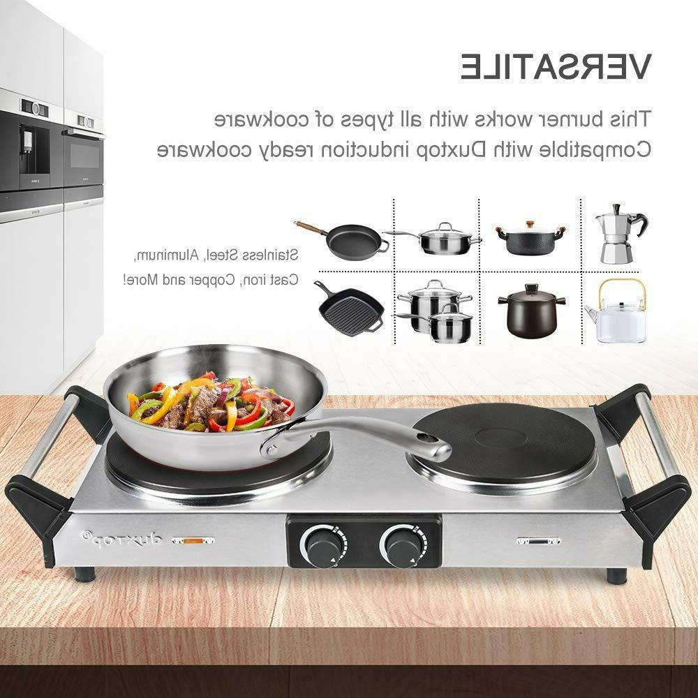 Duxtop Hot Plate Double Cast-Iron Electric Burner Cooktop Ad