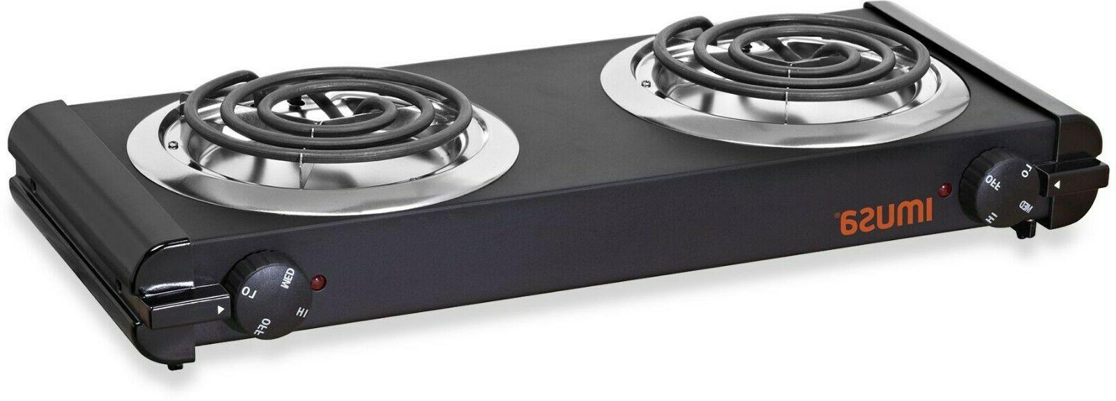 electric double burner hot plate heating cooking