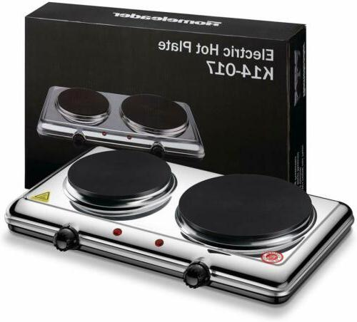 Portable Electric Double Burner Hot Kitchen Cooktop 2200W