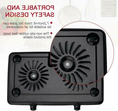 Portable Double Burner Hot Cooker Kitchen Cooktop