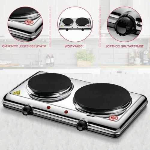 Portable Electric Double Burner Hot Plate Cooker Kitchen Coo