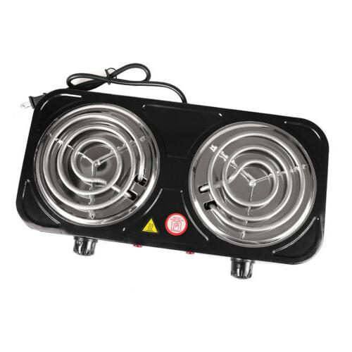 Electric Double Burner 110V Plate Camping Dorm Stove