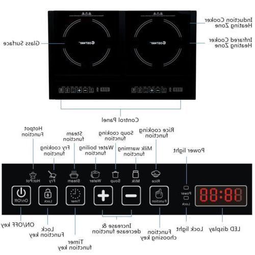 Electric Dual Induction Stove Plate Burners Cooktop 8 Timer