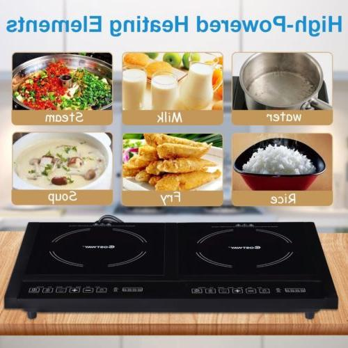 Electric Dual Stove Plate Burners Cooktop 8 Timer