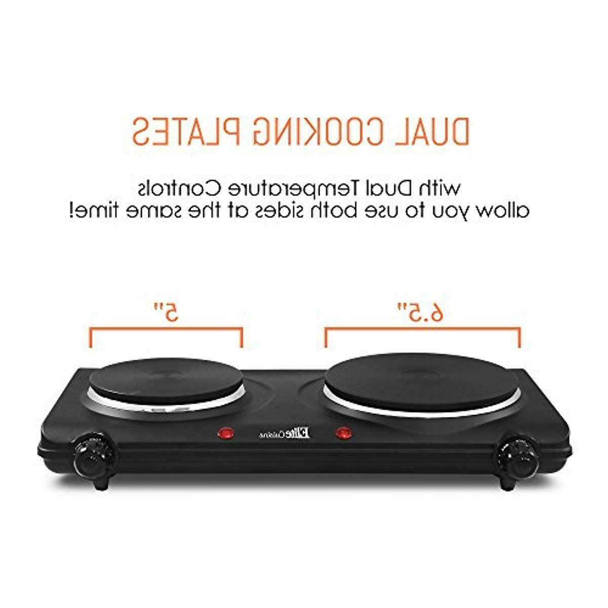 Electric Portable Stove Hot Plate Dual Burner Compact Buffet