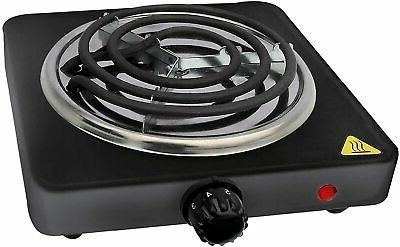 Portable Electric Single Burner Stove Hot Plate 1000W Black
