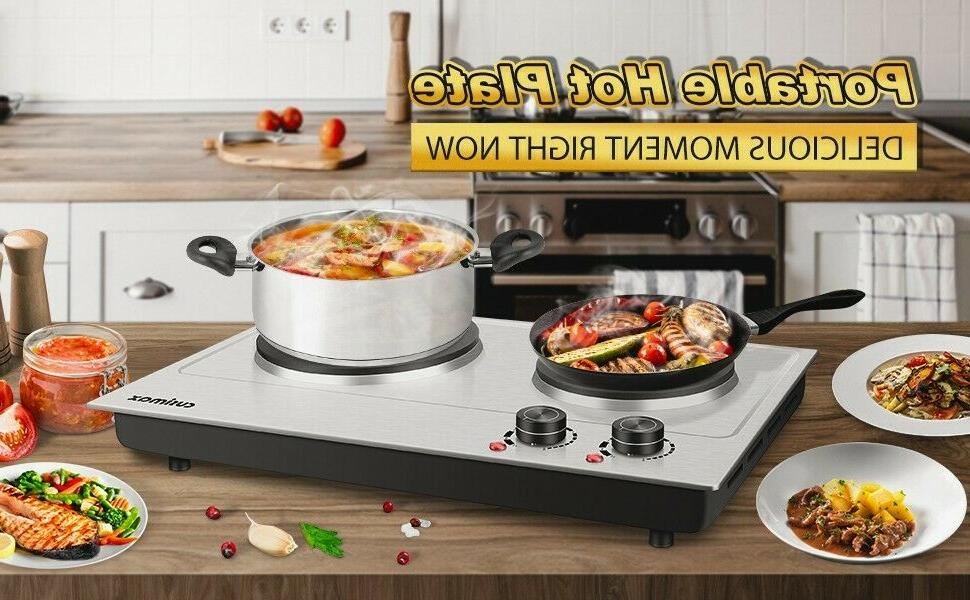 Cusimax Electric Double Burner Cast Iron Heating