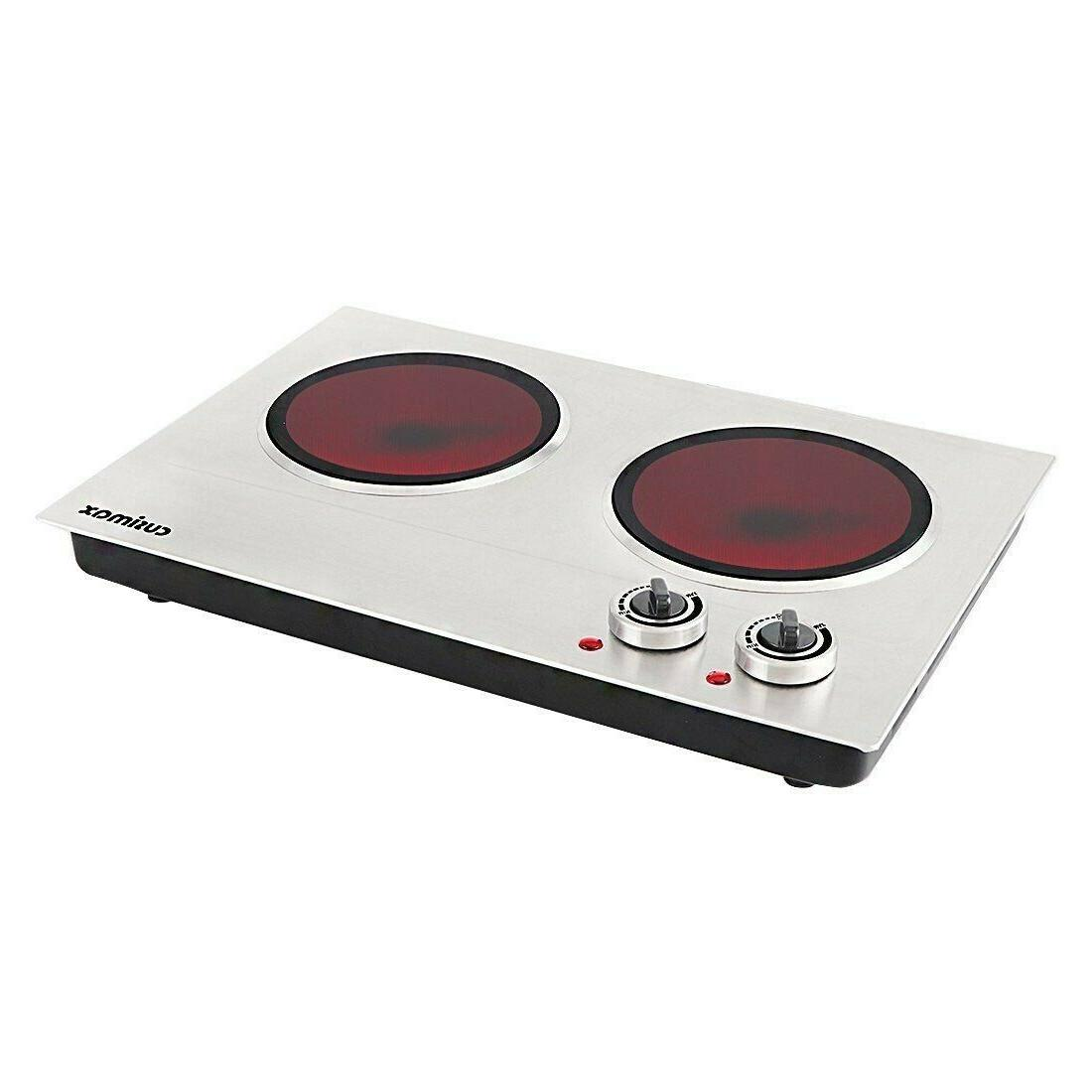 Cusimax Hot Plate, 1800W Electric Double Iron Cooktop