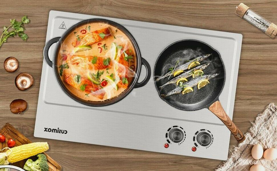 Cusimax Electric Double Cast Iron Heating Plates Cooktop