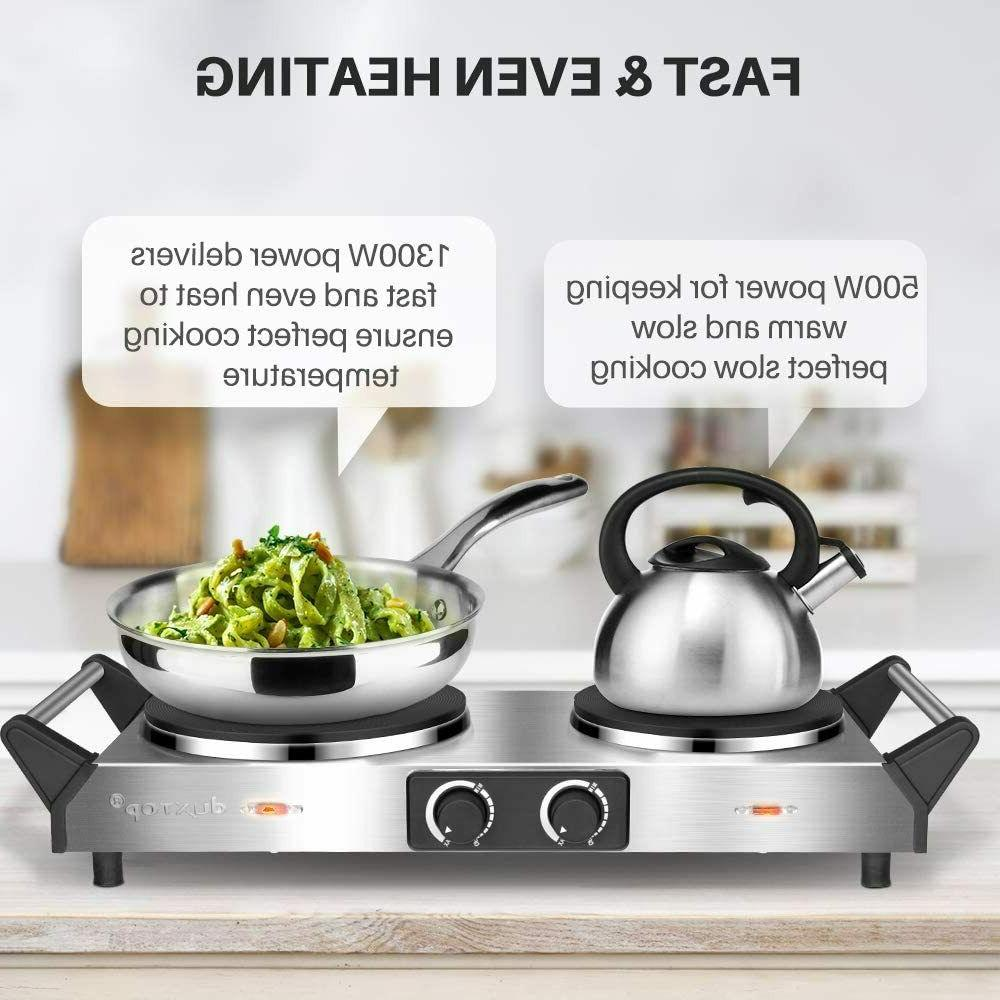 Hot Plate, Portable Cooktop Cast Tron Stainless