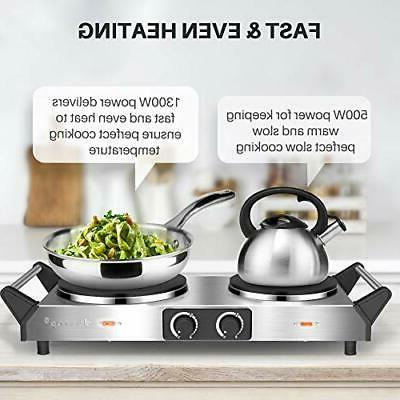 Duxtop Hot Plate, Portable Electric Cast Stovetop, Stainless