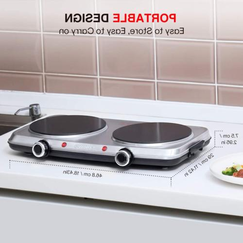 Hot Plates for Cooking 1800W Electric Double Burner with Handles 6 Power Levels