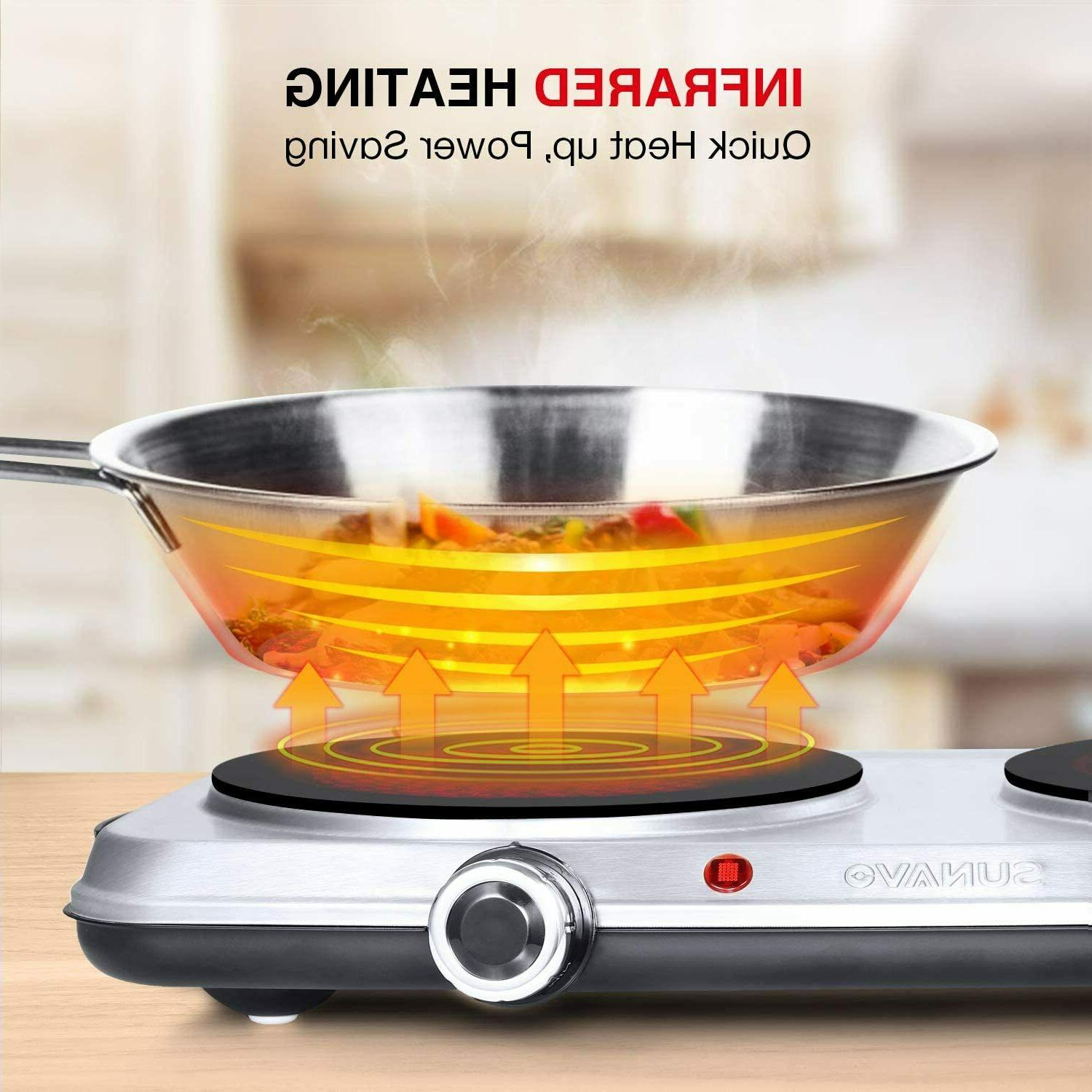 1800W for Cooking Double Burner with 6 Power