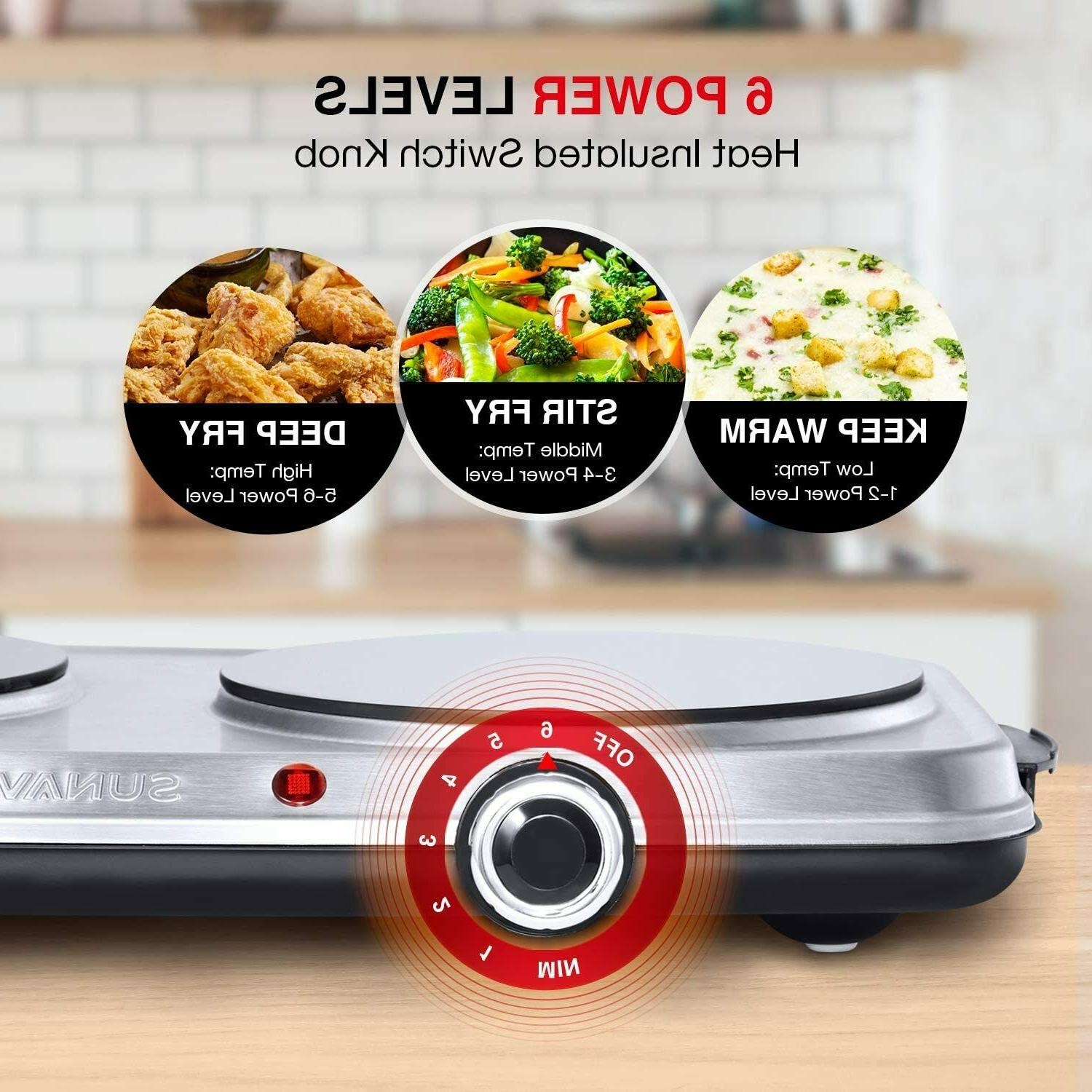 1800W Hot Plates for Cooking Electric Double with