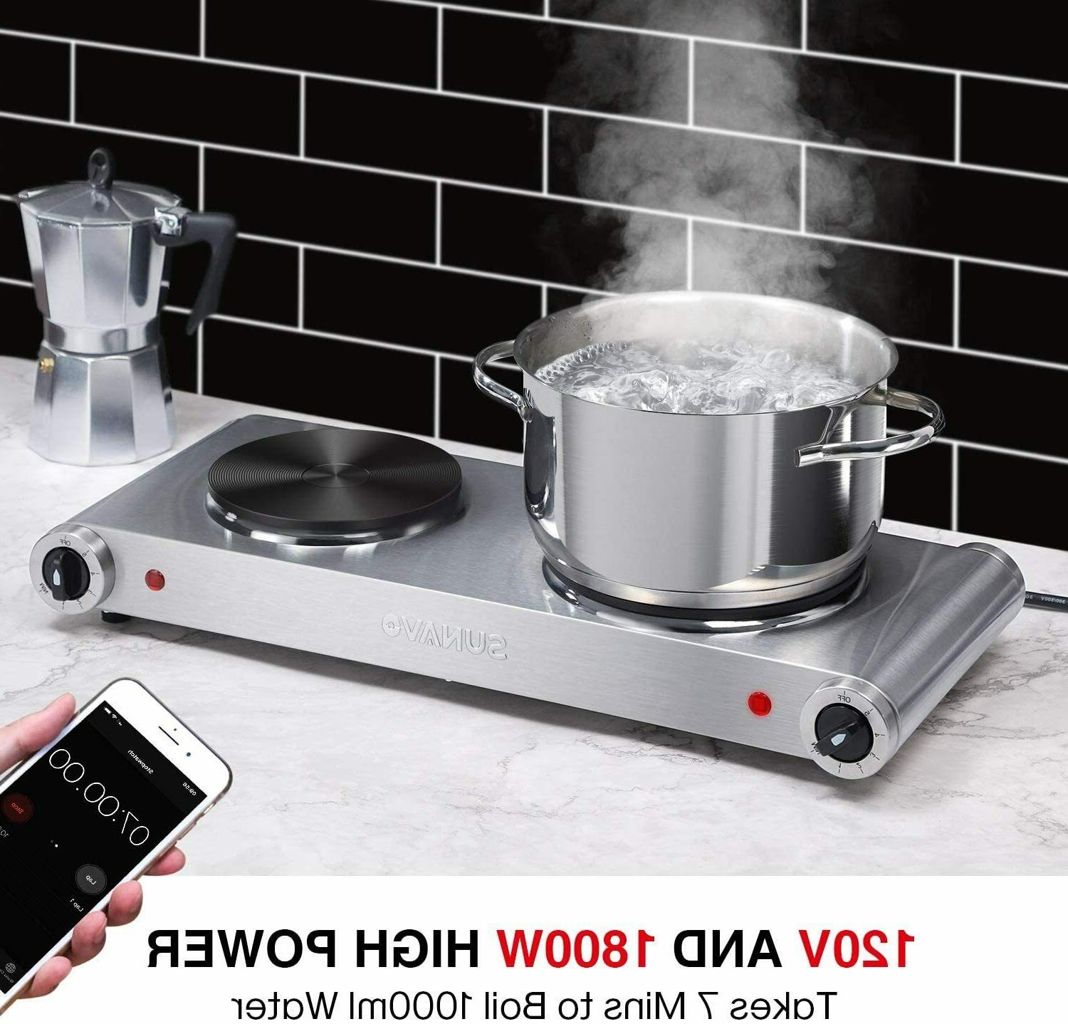 Hot Plates Cooking Portable Electric Double 1800W 5 Cast