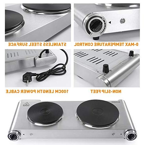 SUNAVO HP-06 Hot Hotplate 1800W Temperature Hot Stainless Scratch-Resistant,Silver,Valentine's gift