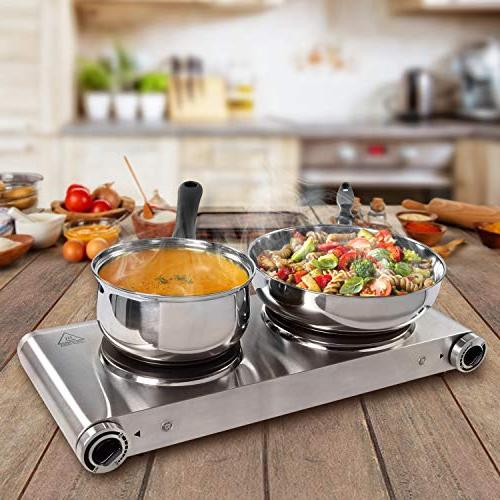 SUNAVO Hot for Double Hotplate 1800W Temperature Controllers ,Table Top Hot Stainless Steel Scratch-Resistant,Silver,Valentine's gift