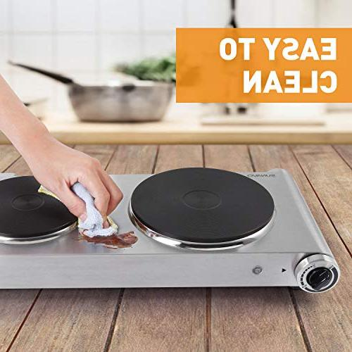 SUNAVO Electric Hot hob Cooktop for Double Hotplate 1800W Temperature ,Table Hot Plate Scratch-Resistant,Silver,Valentine's Day