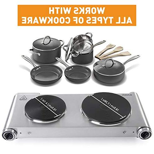 SUNAVO HP-06 Hot Plate hob for Cooking, Double Hotplate Burner 1800W Variable Temperature Controllers Hot Stainless Steel Scratch-Resistant,Silver,Valentine's gift