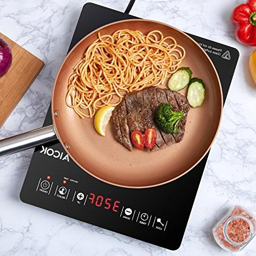 Aicok Portable Induction Sensor Hot with Ultra-Thin Design and Rapid Technology, Digital Countertop Burner Timer and