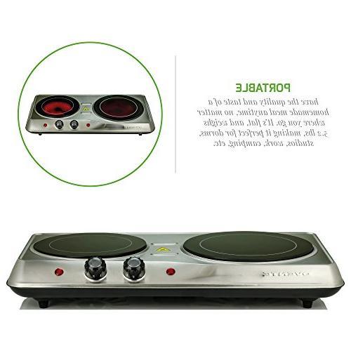 Ovente Countertop Burner, Infrared Ceramic Cooktop, Portable