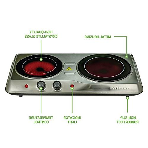 Ovente Infrared Ceramic Glass Plate Cooktop, Indoor Outdoor Portable Stove,